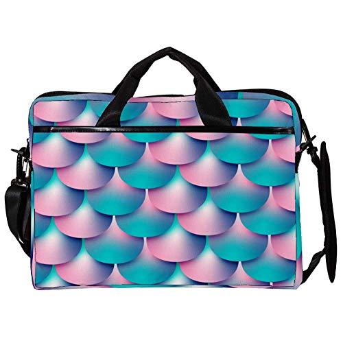 Sequined Mermaid Scales Laptop Bag Canvas Shoulder Messenger Bag Suitable for 15-15.4 inch MacBook Air/MacBook Pro/Notebook Computers 11x15in