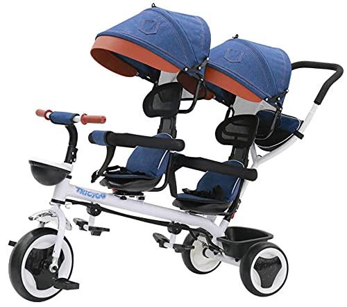 giordano shop Passeggino Triciclo Gemellare Pieghevole con Sedile Girevole 360° Kidfun Tricygò Blu