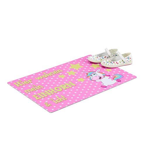 Relaxdays deurmat eenhoorn en ich, 60 x 40 cm deurmat voor meisjeskamer, platte antislip deurmat, roze