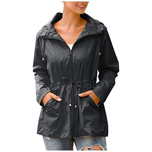 PPangUDing Regenjacke Damen Wasserdicht Winddicht Einfarbig Hooded Jacke Windbreaker Winterjacke Funktionsjacke Outdoorjacke Outwear Übergangsjacke Regenmantel