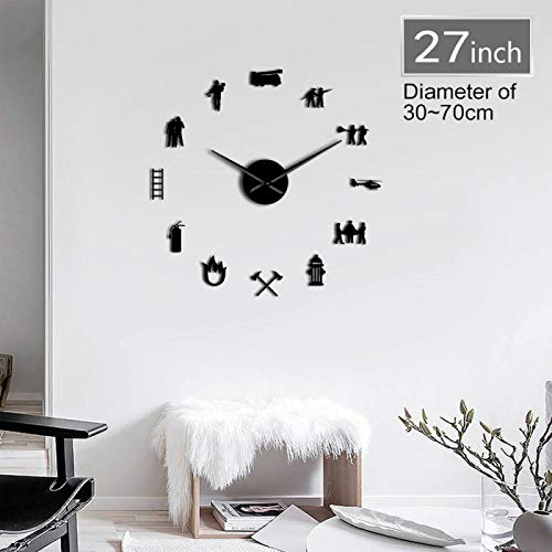 Xinxin Wall Clock Firemen Hydrant Exclusive Large DIY Wall Clock Extinguisher Fire Fighting Truck Fire Department Decor Fire Tools Clock Watch for Any Room in Home School Caravan Garage