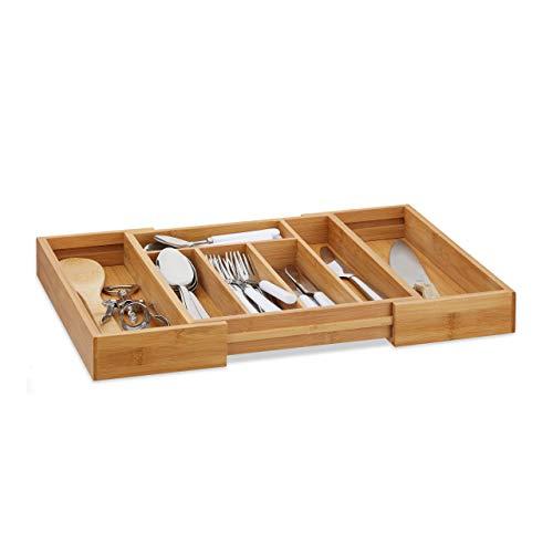 Relaxdays Besteckkasten Bambus, ausziehbarer Besteckeinsatz als Küchenorganizer, Schubladeneinsatz 33,5x29-45x5 cm, natur