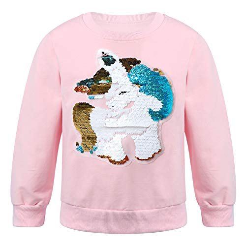 dPois Sudadera Niña Camiseta Top de Manga Larga Algodón con Lentejuelas Estampado Sudadera sin/con Capucha con Dibujo Unicornios para Niñas Rosa 3-4 años