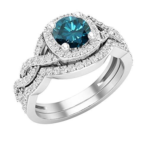 Dazzlingrock Collection - Juego de anillos de boda de 5,8 mm con piedras preciosas redondas y diamantes blancos, estilo trenzado, oro blanco de 18 quilates