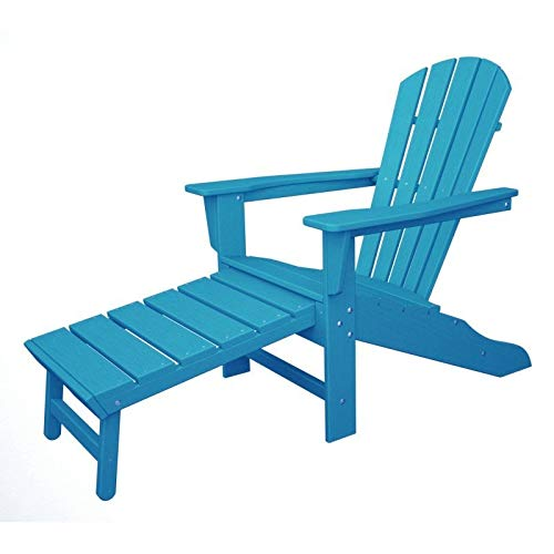 Polywood CASA Bruno South Beach Ultimate Adirondack Chair mit ausziehbarem Fussteil, aus recyceltem HDPE Kunststoff, Aruba - kompromisslos wetterfest