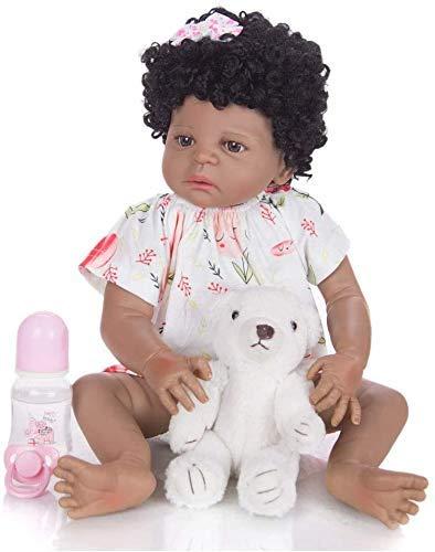 57 Cm Reborn Baby Doll Full Silicone Realistic Newborn Doll Waterproof Magnet Pacifier Lifelike Newborn Bathe Play House Toy Kid Birthday Gift,Black
