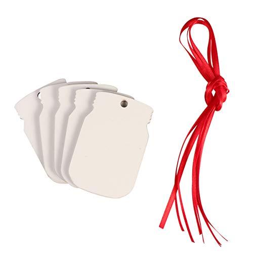 EXCEART Weihnachtsplastik-Chip Unvollendete DIY-Tag Hängen Ornamente Leere Tag für Wunschflasche 5Pcs