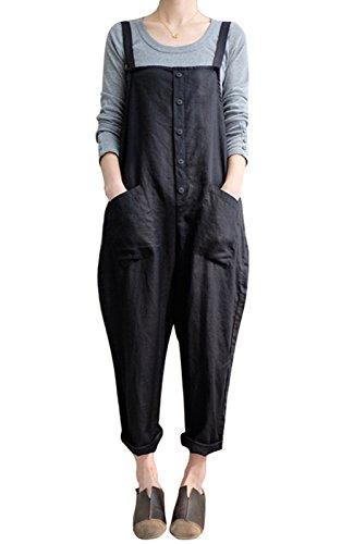 MAGIMODAC Baggy Latzhose Baumwolle Jumpsuit Overall Dungarees Damen Sommer Hosen Hosenanzug Mit Tasche 34 36 38 40 42 44 46 48 50 (Schwarz, Etikett...
