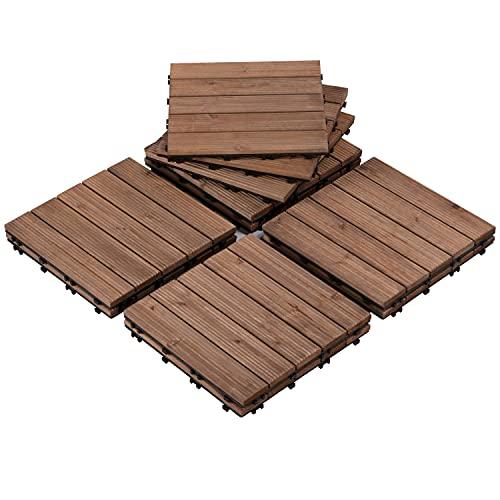 Yaheetech 22PCS Patio Deck Tiles Interlocking Wood Composite Decking Floor Tiles 12 x 12 Brown Wooden Flooring for Patio Garden Deck Poolside