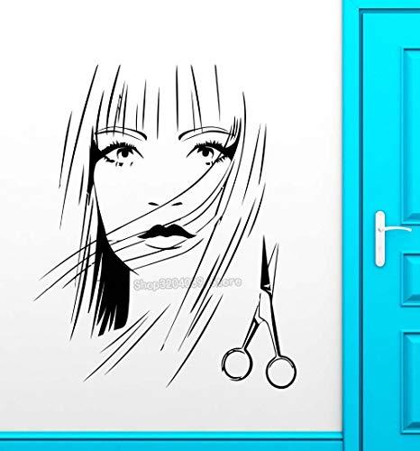 BailongXiao Friseursalon Vinyl Aufkleber heiße Mädchen Friseur Schere Wandbild Wandaufkleber Friseursalon Zimmer abnehmbare Dekoration 75,6X93,6 cm