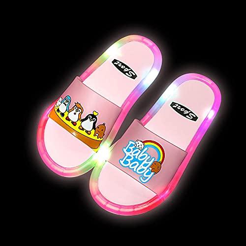 Ciabatte Microonde,2021 Ragazze Pantofole per Bambini Scarpe da Giardino LED Pantofole per Bambini Bagno Bagno Sandali per Bambini Scarpe per Bambini per Ragazze Ragazzi Light Up Scarpe Toddler-Rosa_