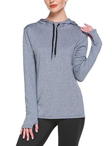 ADOME Damen Shirt Longsleeve Laufshirt Sportshirt Sweatshirts Fitness Running Tops Pullover Funktionsshirt Hoddie mit Daumenloch T-Shirt Langarm