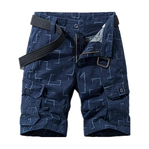 Pantalones cortos casuales para hombre de verano con estampado masculino de estilo de negocios