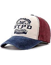 iSWEVEN Branded Baseball Stylish Cricket Adjustable Men/Women Unisex Sports Cotton Cap - Free Size (Blue-Cream-Red)