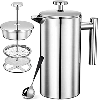 French Presses Coffee Maker - Stainless Steel & Heat Resistant Borosilicate Glass Coffee Pot (silver-12oz) …