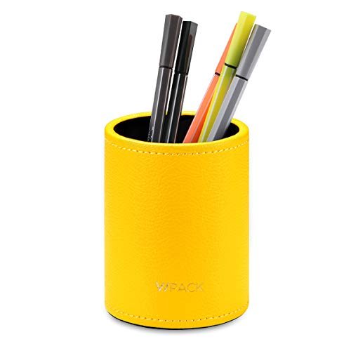 Vpack Round Pen Pencil Cup Holder Stand Desk Office Organizer, PU Leather Desktop Supplies Organizer for Home, School, Office(Yellow)