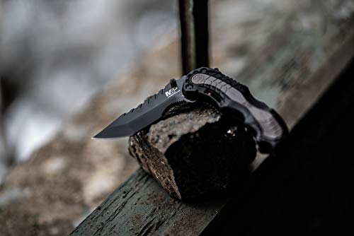 Smith & Wesson SWMP6 7.7in 4034 Assisted Folding Knife with 3.4in Clip Point Blade and Aluminum Handle for Outdoor, Tactical, Survival and EDC