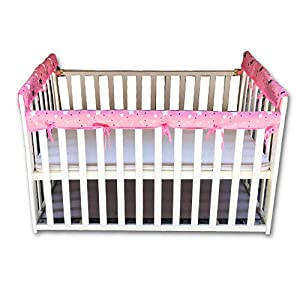 3-Piece Baby Crib Rail Cover Protector Set,for 1 Front Rail and 2 Side Rails,100% Silky Soft Microfiber Polyesterr,Safe and Secure Crib Rail Cover