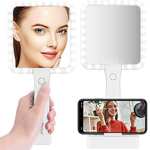 Specchio Trucco con Luci: Specchio da Tavolo Bifacciale con Ingrandimento 5X 1X-3 Colori di Luce Luminosità Regolabile Ideale per Trucco/Rasatura/Cura del Viso Specchio da tavolo & specchio portatile