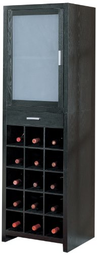 Organize It All Wood 15-Section Wine Storage High Cabinet with Drawer - Black Finish