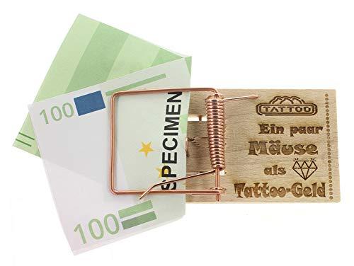 MIK Funshopping Geldgeschenk-Verpackung Mausefalle mit Spruch, witzige Geschenkidee zum Geburtstag, zur Hochzeit und zu Weihnachten (EIN Paar Mäuse als Tattoo-Geld)