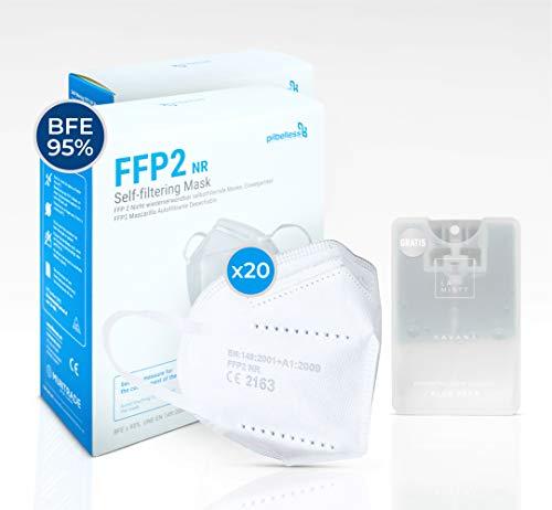 Mascarilla FFP2 - Caja 20 uds. Certificado CE - Ultraresistente ≥99% anti-filtración - embolsado individual - mascarilla desechable regalo la mistt