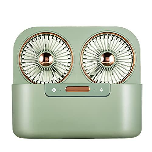 Ventilador de Doble pulverización de Hojas de Doble Hoja, refrigerador de Aire de humidificación, Fans de refrigeración por Agua de rociado Ventilador de Escritorio de Oficina (Color : Verde)