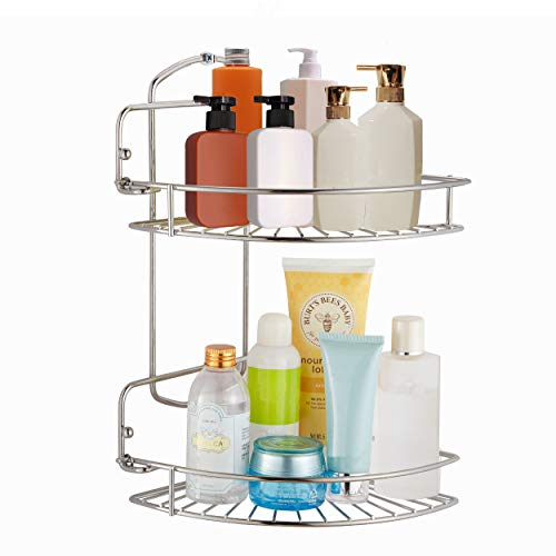 Naturous 2 Tier Corner Shower Caddy, Foldable Shower Organizer, 304 Stainless Steel Wall Mounted Shower Shelf Waterproof Corner Shelf Organizer for Toilet,Shampoo,Dorm and Kitchen