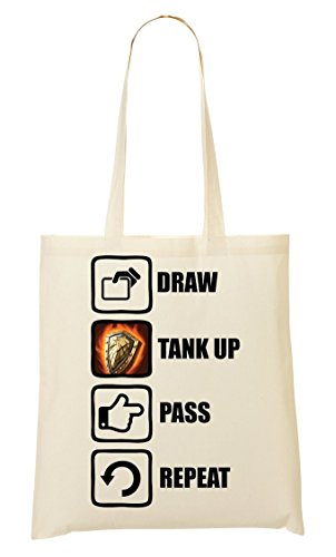 C+P Draw Tank Up Pass Repeat Funny Video Game Graphic Tragetasche Einkaufstasche