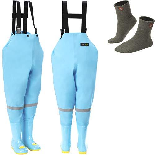 smartpeas wasserdichte Wathose für Kinder mit Gummi-Stiefel blau Größe 24/25 – ideale Anglerhose/Watthose für Kinder +Plus: 1x Socken