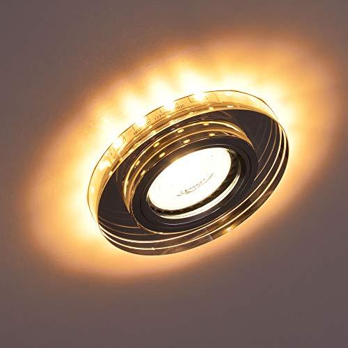 1x MAXKOMFORT Glas Einbaustrahler mit LED Ring + GU10 Fassung RUND Einbauspot Einbauleuchte Rahmen Rostfrei Deckenspot Strahler Spot 4111