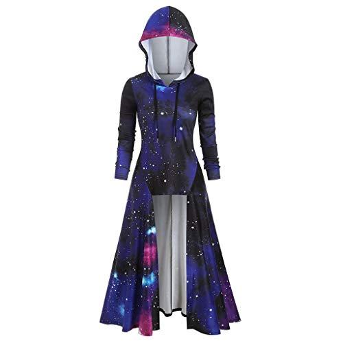 Sternenhimmel Galaxy Hoodie Damen Umhang Pullover Kapuzen Große Größen Kapuzenpullover Herbst Winter Pullover Langarmshirt Loose Sweatshirt Long Top Unregelmäßig Pulli Streetwear S-XXXL