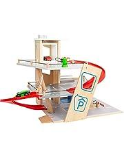 Small Foot 11676 Premium, 3 poziomy z rampami, drewniany parking dla dzieci, zabawka do odgrywania ról