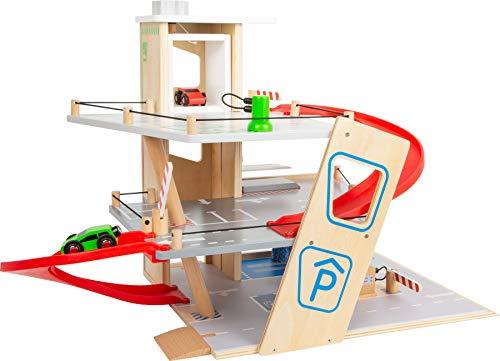 Small Foot 11676 Premium, über 3 Ebenen mit Rampe, Parkhaus für Kinder aus Holz, Rollenspielzeug Spielzeug