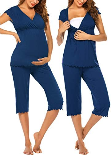 Ekouaer Nursing Pajamas Maternity Pajama For Hospital Nursing Pajamas Sleepwear Set product image