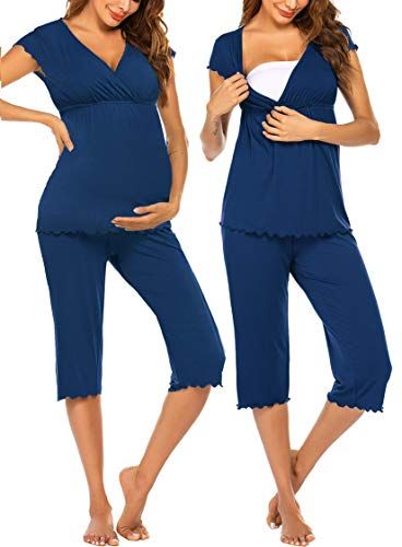 Ekouaer Women Layered Maternity & Nursing Pajama...