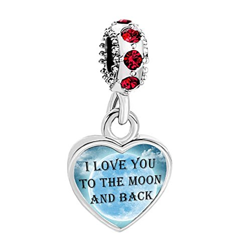 Mothers Day Charm I Love You To The Moon And Back Red Birthstone Heart Charms fit Chamilia Bracelet