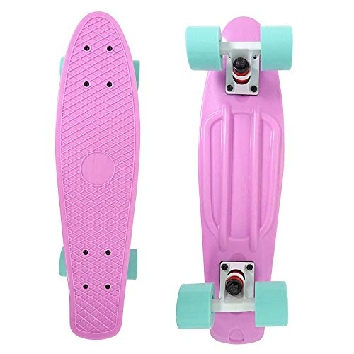 Skateboard Complete 22 Inch Purple Cruiser Bendable Deck for Kids Beginners or Pro PU 59mm Wheels ABEC-7 220 Ibs