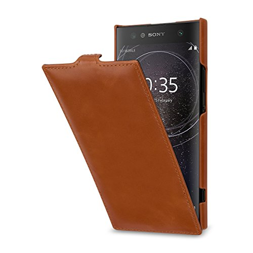 StilGut UltraSlim, Leder-Hülle kompatibel mit Sony Xperia XA2 Ultra, Cognac