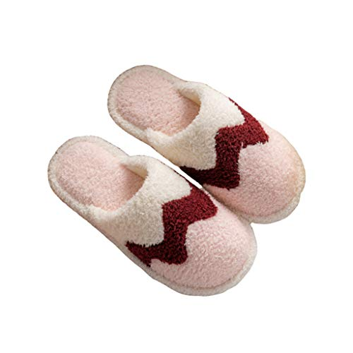 ANDME Cute Simple Casual Non-Slip Couples Home Warmth Confinement Ladies Cotton Slippers (Pink, Numeric_3)