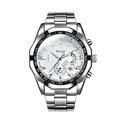 Mabor, orologio da uomo al quarzo, in acciaio inox, orologio da polso da uomo, impermeabile, cronografo, orologio da polso da uomo, quadrante grande, impermeabile, con data automatica