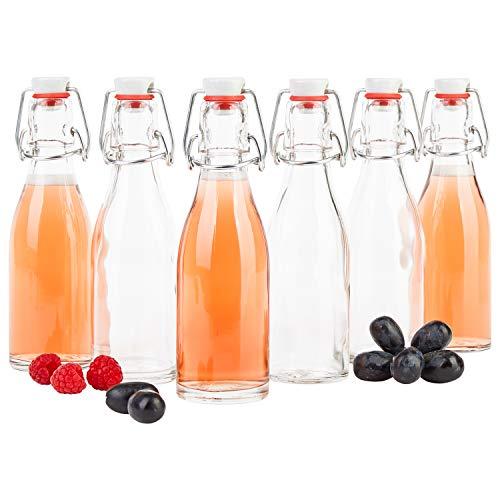 MamboCat Set van 6 beugelflessen 200 ml I bierpulle rond I heldere glazen flessen om te vullen I Most, sap, bier, jenever, likeur, azijn & olie I draadbeugelsluiting