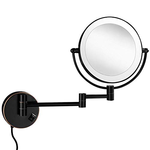 Gecious 10x Wall Mounted Lighted Mirror, Double-Sided 8 inches,Double Sided 10x Magnifying -
