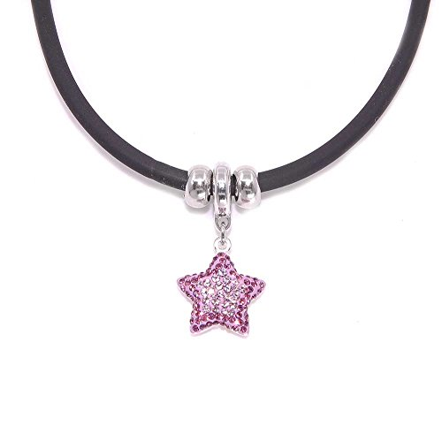 Missy Jewels, Collar Mujer Forma de Estrella Marca Swarovski Elements. Cordón de Caucho con Cierre y Cuentas de Plata de Ley 925 rodiada