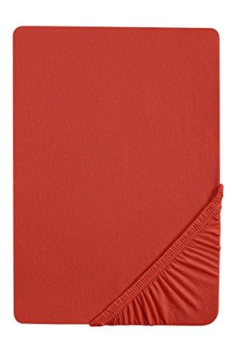 #19 biberna Jersey-Stretch Spannbettlaken, Spannbetttuch, Bettlaken, 90x190 – 100x200 cm, Chili
