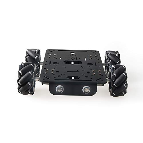 4WD Smart Mecanum Wheel Car Chassis for Arduino/Raspberry pi, ROS Metal Robot Platform with 80mm Mecanum Omni Wheel and High Torque DC Motor with Encoder, Smart Robot Car Chassis DIY Learning Kit