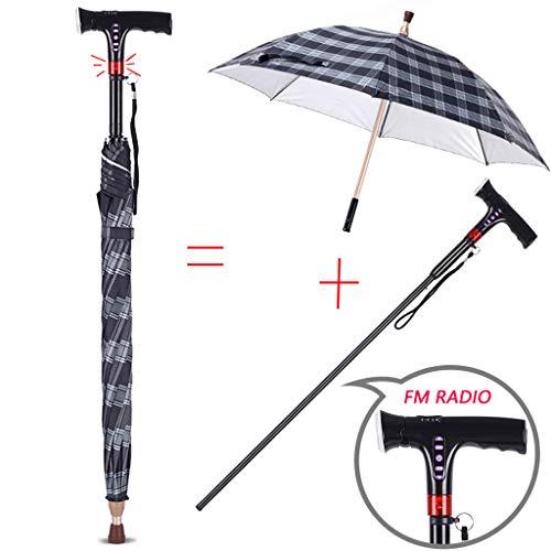 WenTao Regenschirm Gehstock mit Smart-Griff-Radio/LED/Alarm Nettogewicht 0,65 kg Max. Benutzergewicht 156 kg Geschenk
