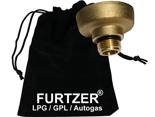 Furtzer® LPG GLP GPL Autogas Reservorio Adaptador M22 (1 3/4' X W21.8) Dish versión Corta (ca. 35mm) con Bolsa de Tela