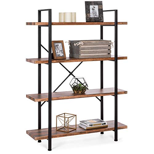 Best Choice Products 4-Shelf Industrial Open Bookshelf for Living Room, Office w/Wood Shelves, Metal Frame -Brown/Black
