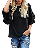 luvamia Women's Black Casual 3/4 Tiered Bell Sleeve Crewneck Loose Tops Blouses Shirt Size XL
